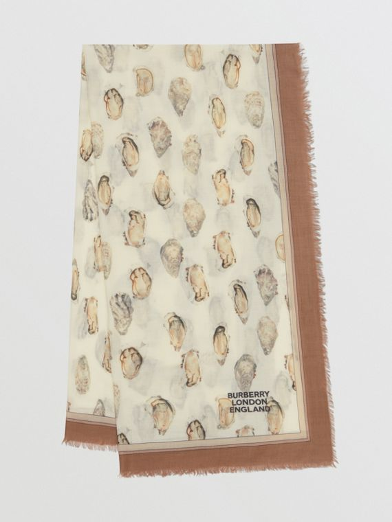 Oyster Print Lightweight Cashmere Scarf in White