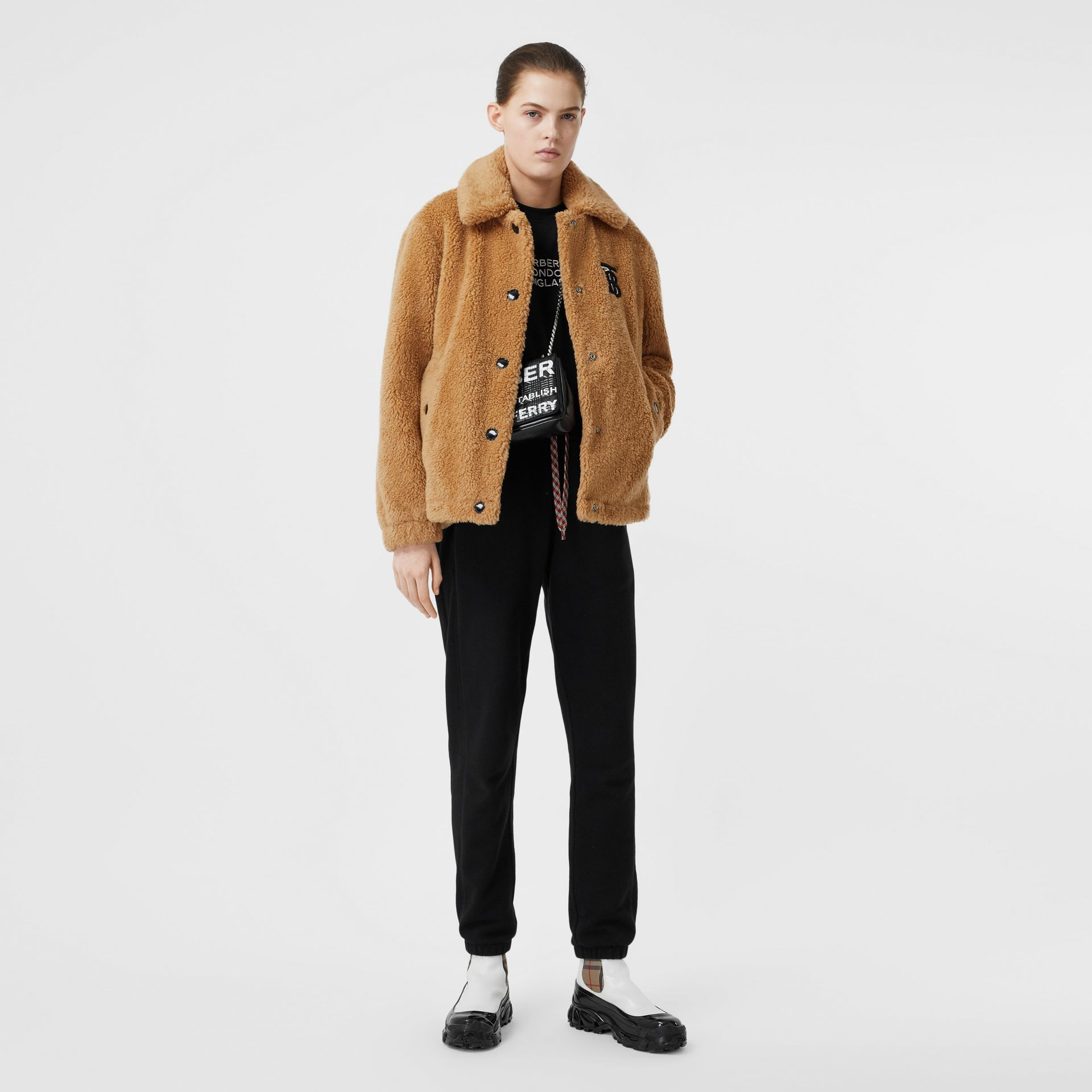 Monogram Motif Fleece Jacket in Camel - Women | Burberry Canada - gallery image 0