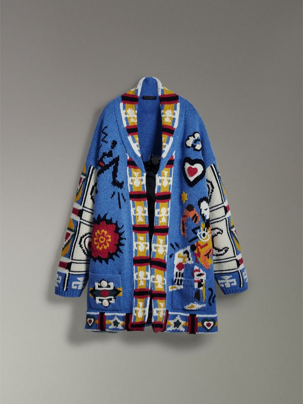 Wool Graphic Intarsia Cardigan in Sky Blue | Burberry - cell image 3