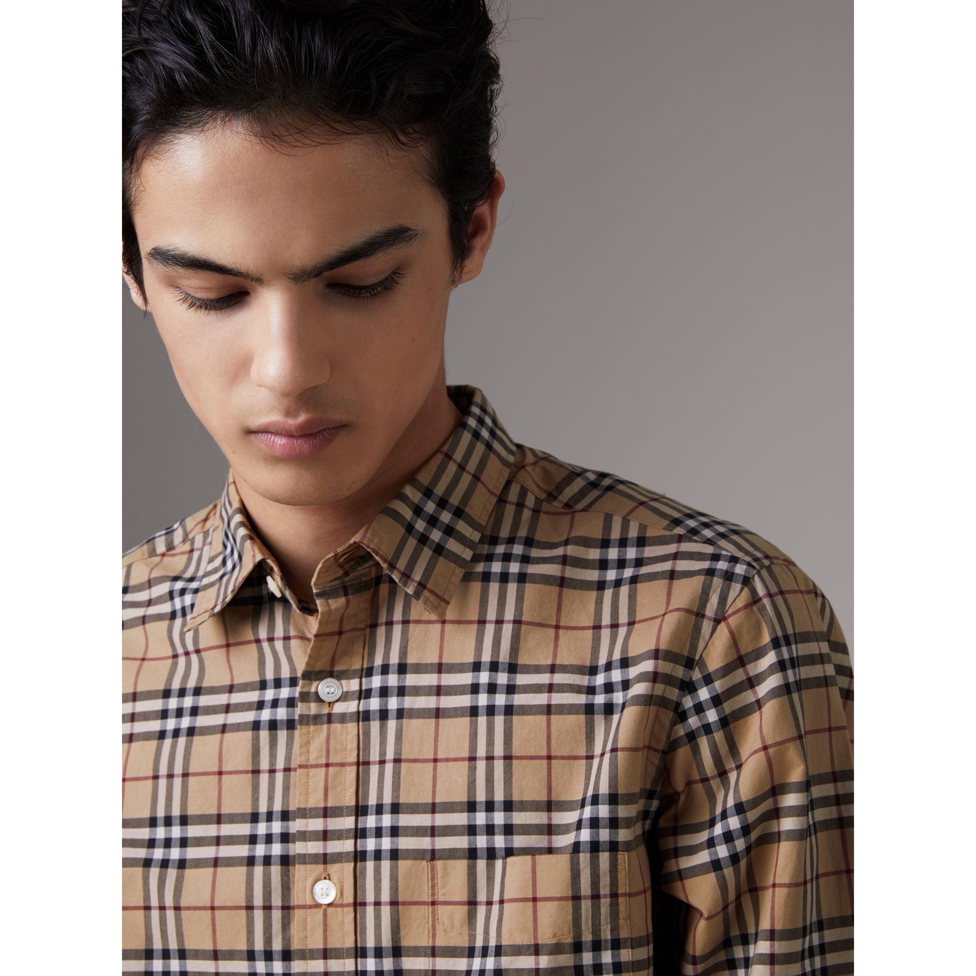 Check Cotton Shirt in Camel - Men | Burberry Australia - gallery image 1