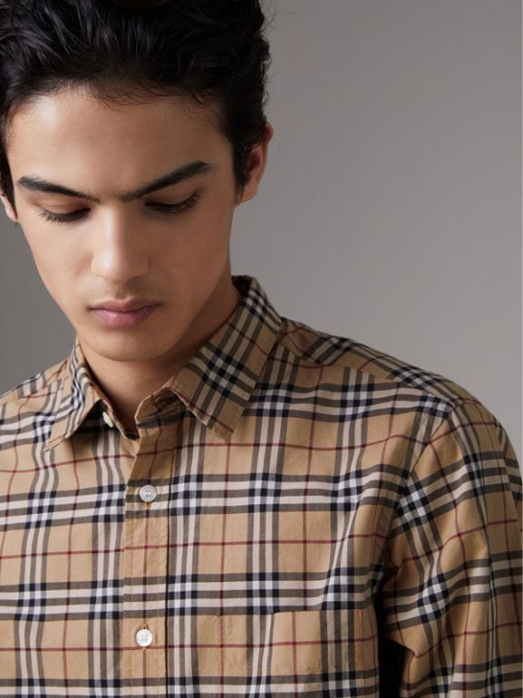 Check Cotton Shirt in Camel - Men | Burberry Australia - cell image 1