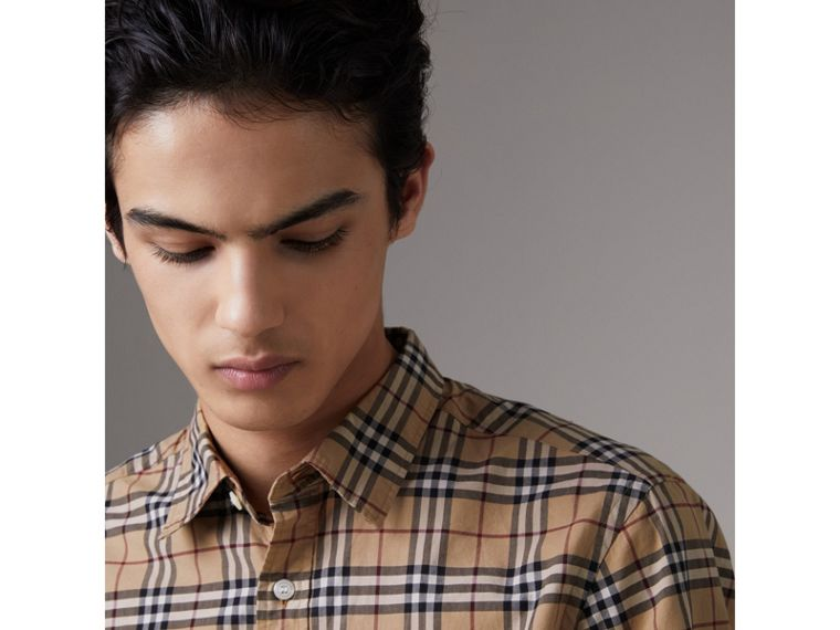 Check Cotton Shirt in Camel - Men | Burberry - cell image 1