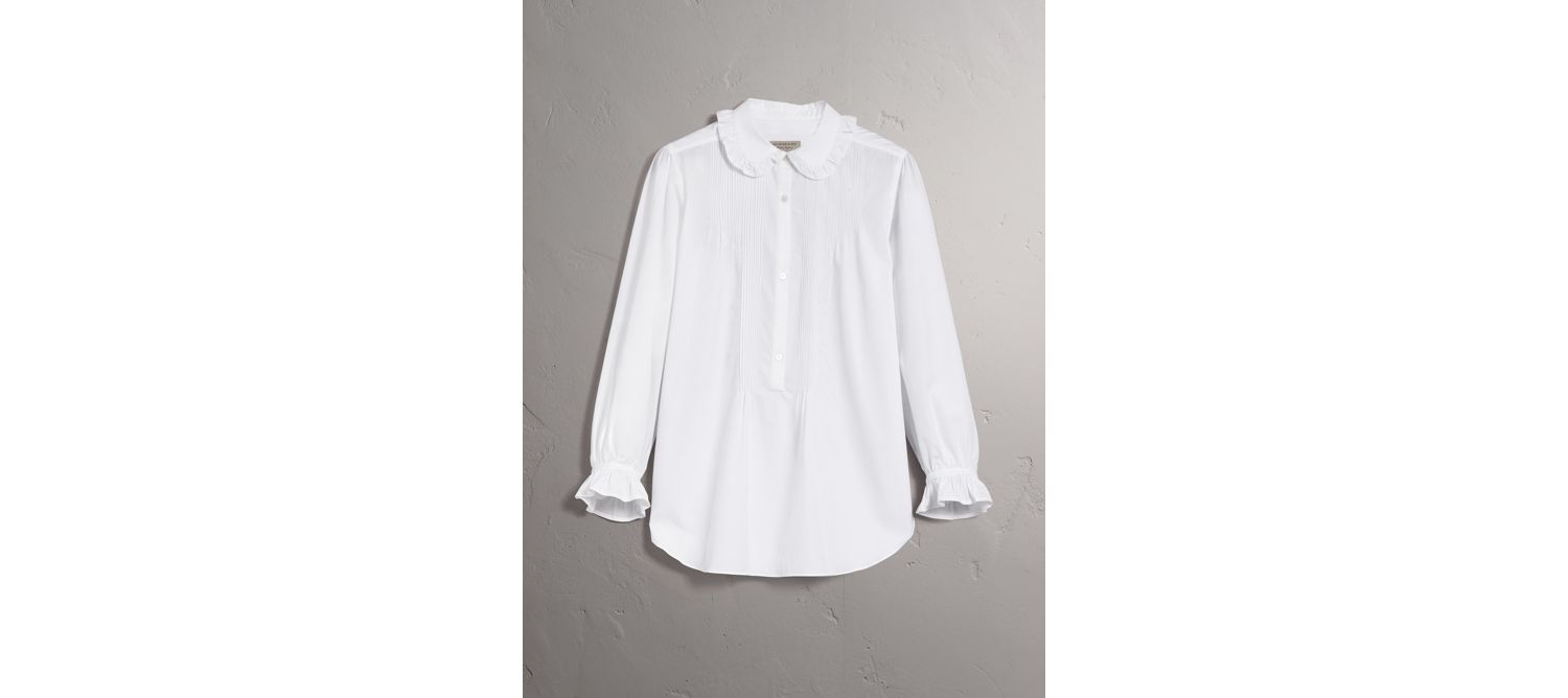 Ruffle and Pintuck Detail Cotton Shirt in White