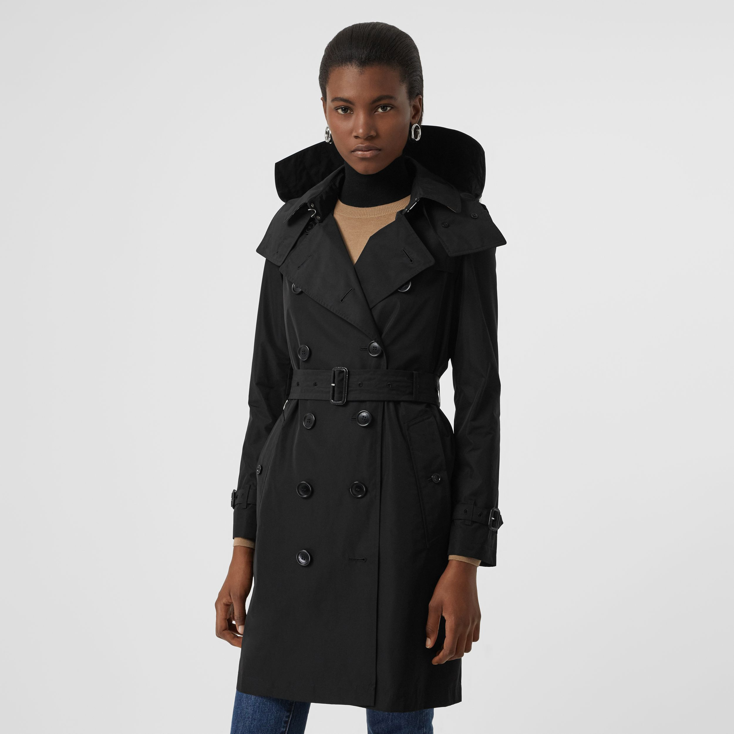 Detachable Hood Taffeta Trench Coat in Black - Women | Burberry - 1