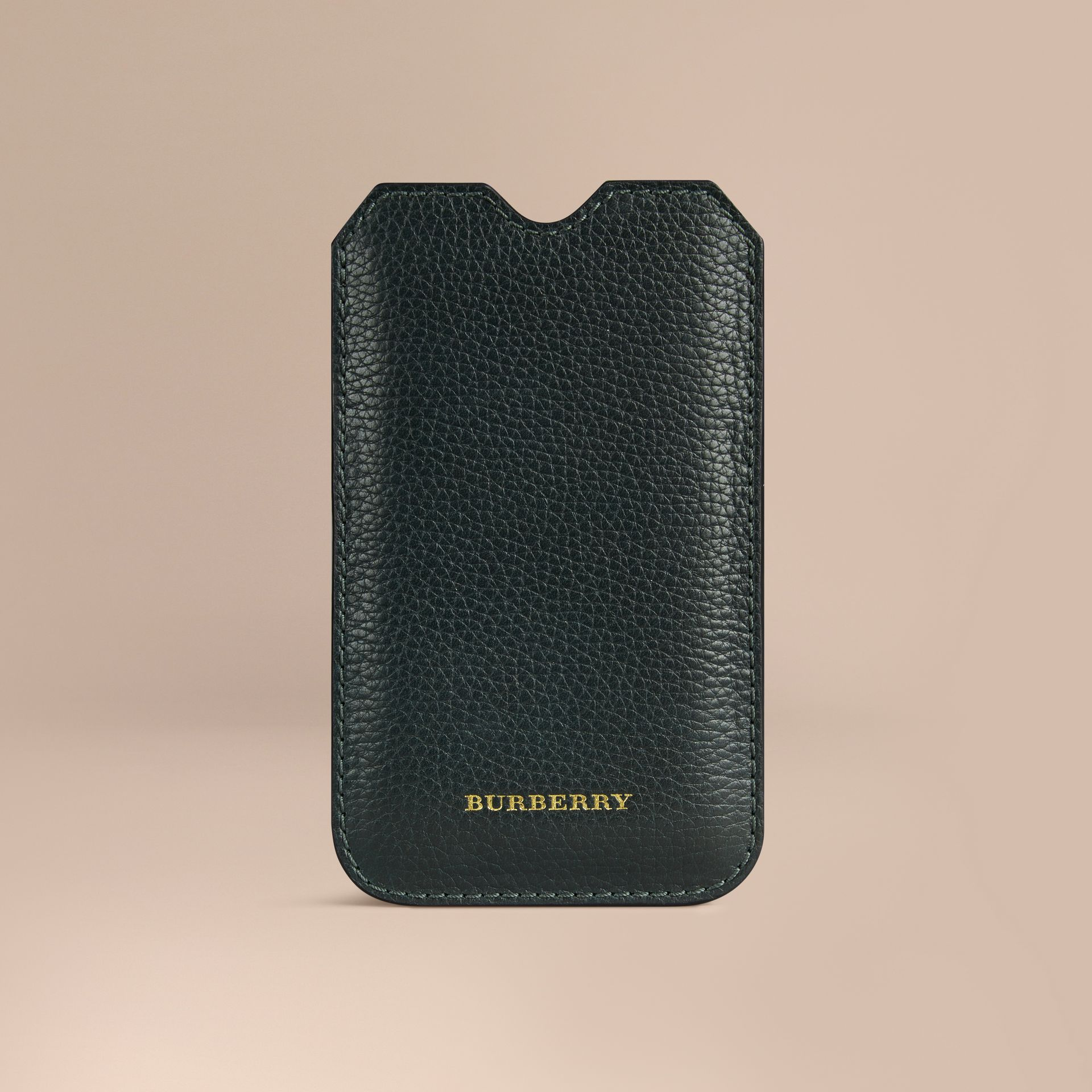 Grainy Leather iPhone 5/5S Case in Dark Forest Green | Burberry - gallery image 1