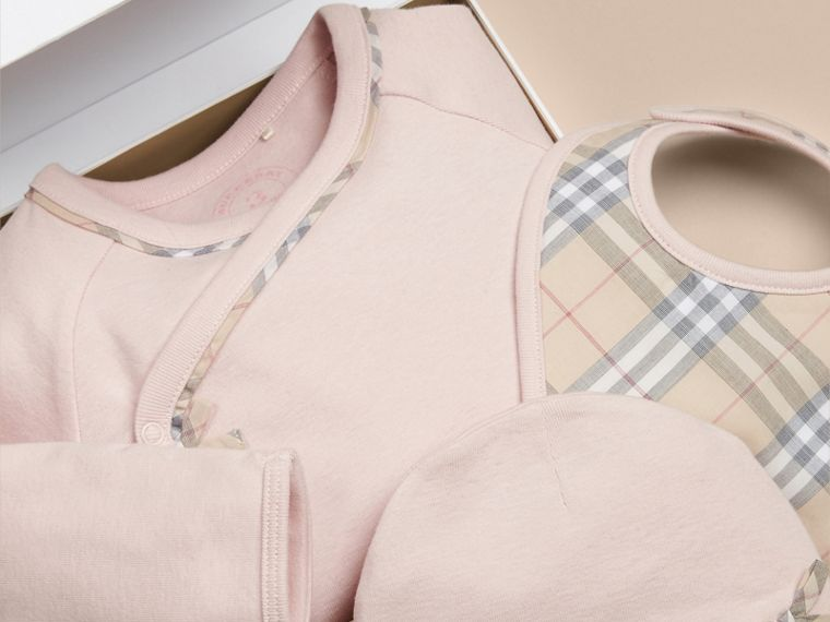 Check Cotton Three-piece Baby Gift Set in Powder Pink - Girl | Burberry Canada - cell image 1