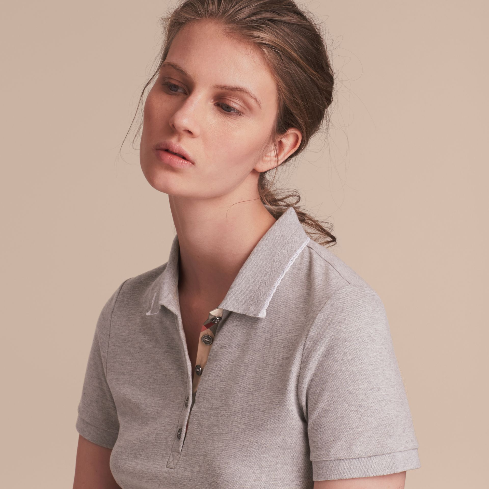 Lace Trim Cotton Blend Polo Shirt with Check Detail in Pale Grey Melange - Women | Burberry Hong Kong - gallery image 5