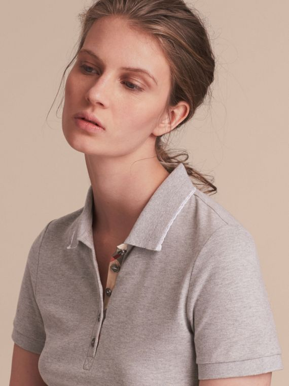 Lace Trim Cotton Blend Polo Shirt with Check Detail in Pale Grey Melange - Women | Burberry Australia