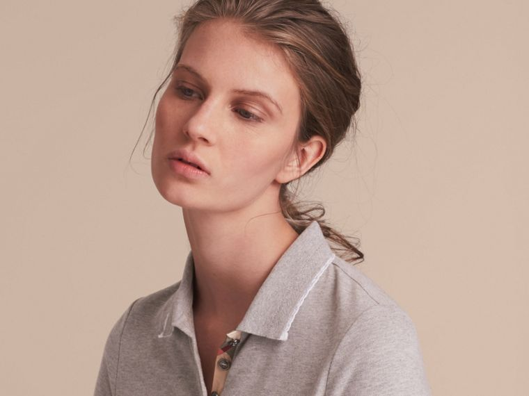 Lace Trim Cotton Blend Polo Shirt with Check Detail in Pale Grey Melange - Women | Burberry Singapore - cell image 4