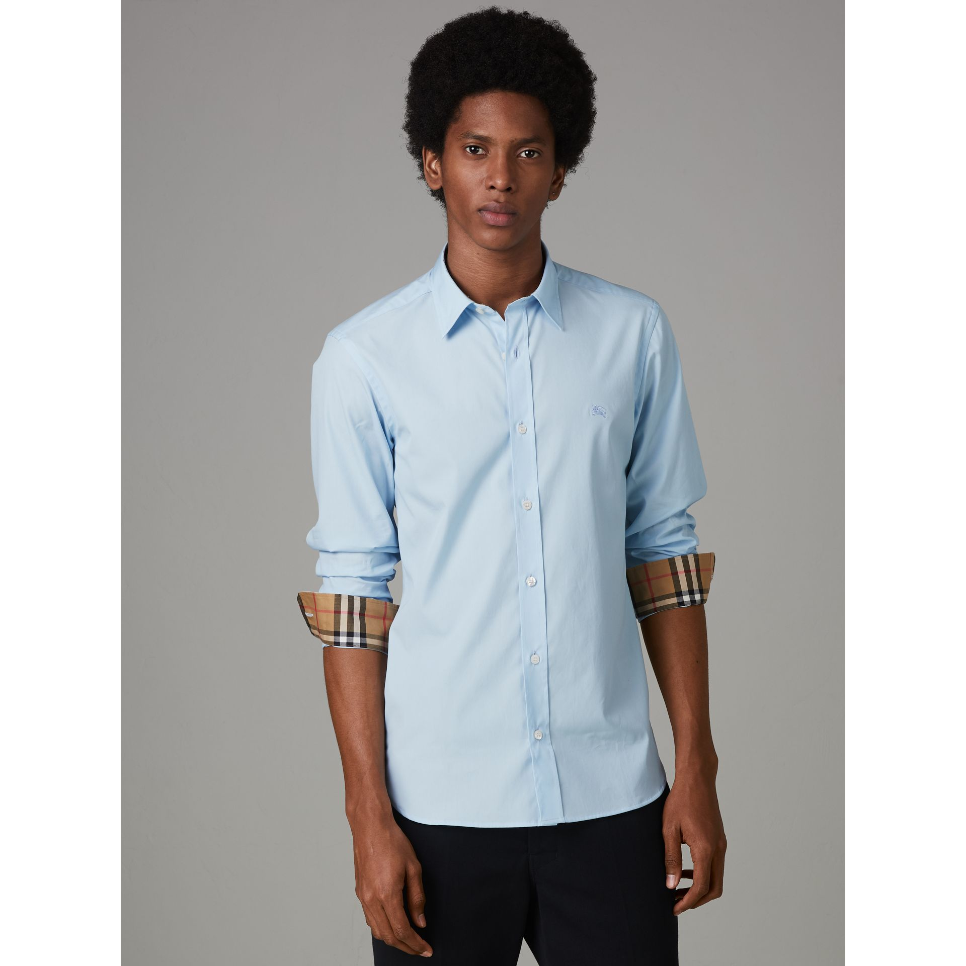 Check Cuff Stretch Cotton Poplin Shirt in Pale Blue - Men | Burberry - gallery image 5