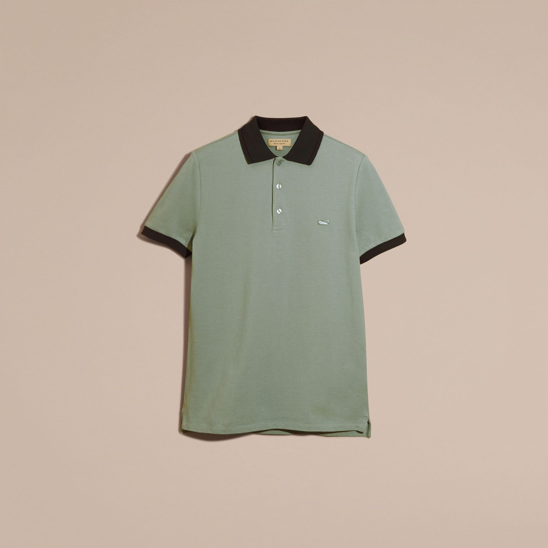 Chalk green/black Contrast Trim Cotton Piqué Polo Shirt Chalk Green/black - gallery image 4
