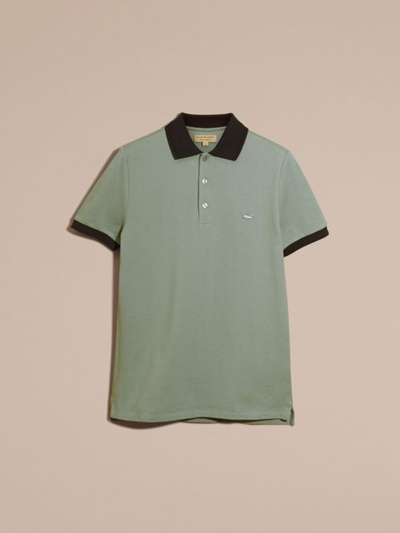 Chalk green/black Contrast Trim Cotton Piqué Polo Shirt Chalk Green/black - cell image 3