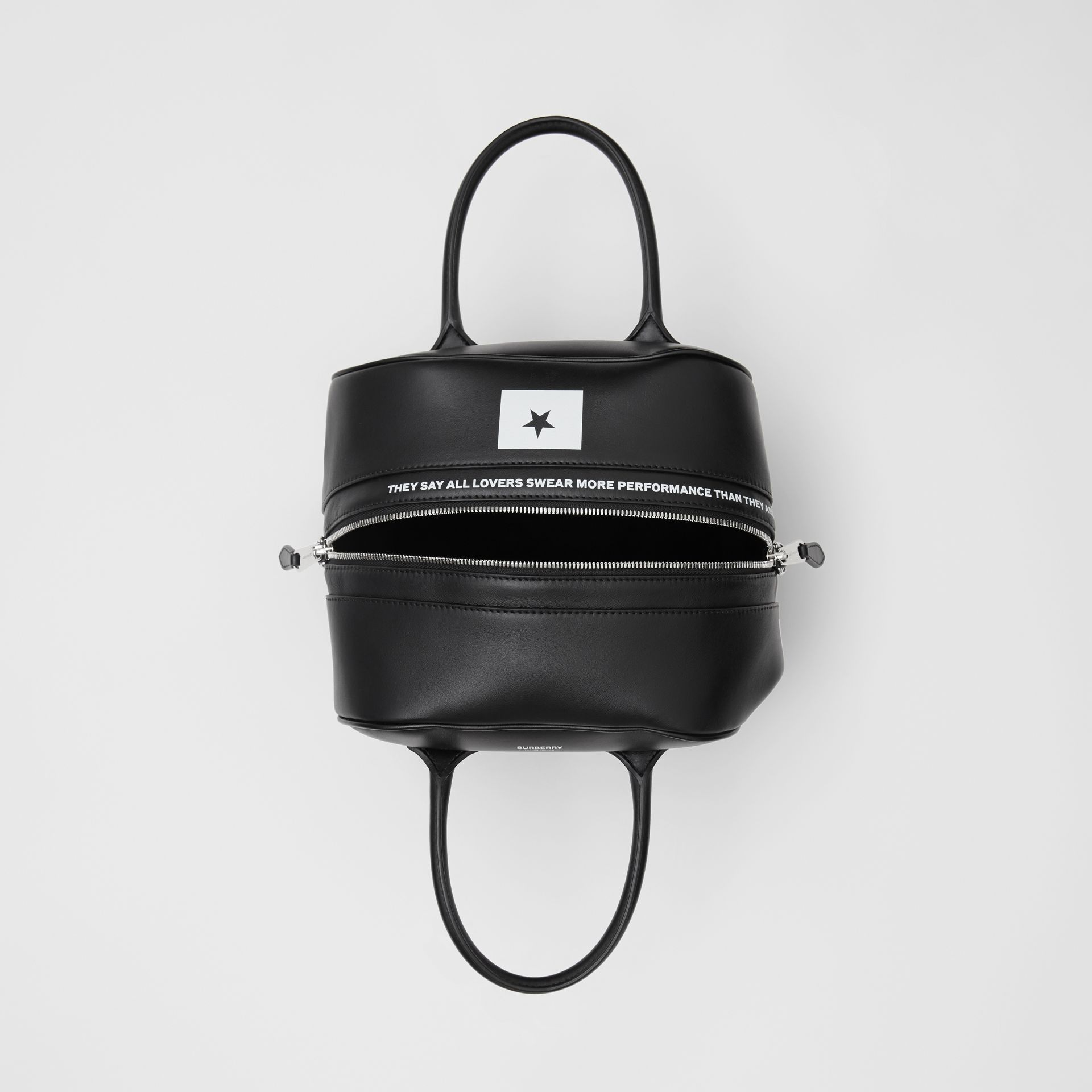 Small Montage Print Leather Cube Bag in Black - Women | Burberry United States - gallery image 4
