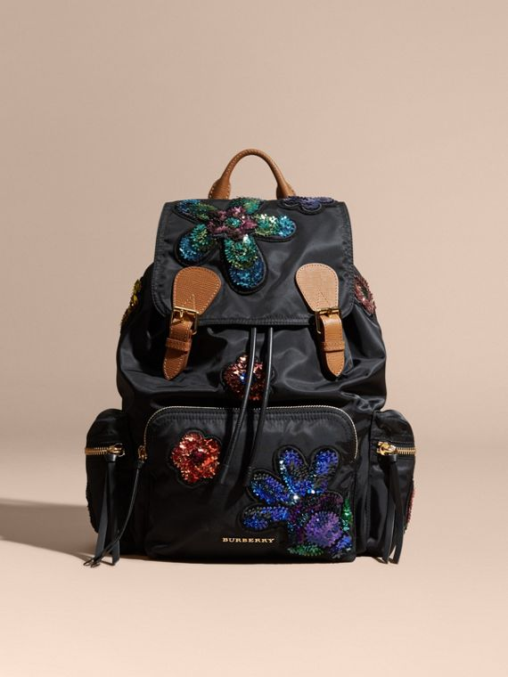 The Large Rucksack in Technical Nylon with Sequinned Flowers - Women | Burberry