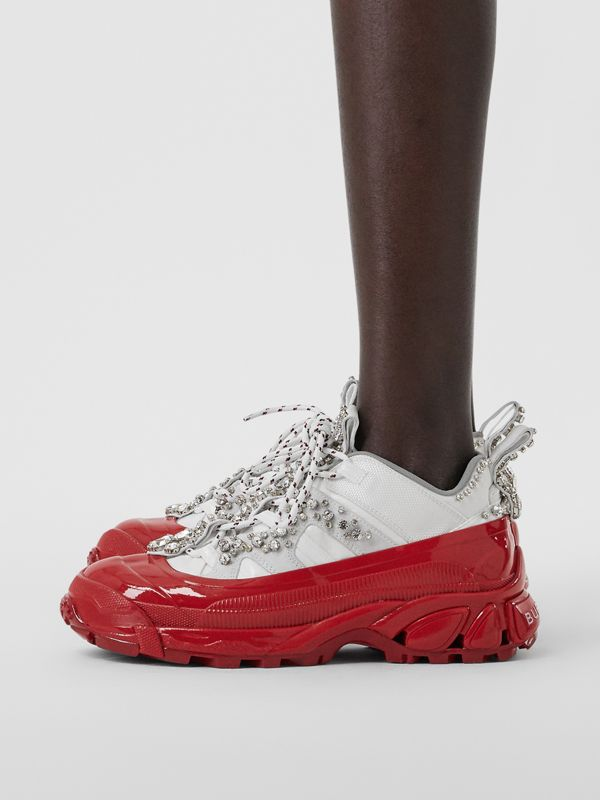 Crystal Detail Suede and Nylon Arthur Sneakers in White/red - Women | Burberry Singapore - cell image 2