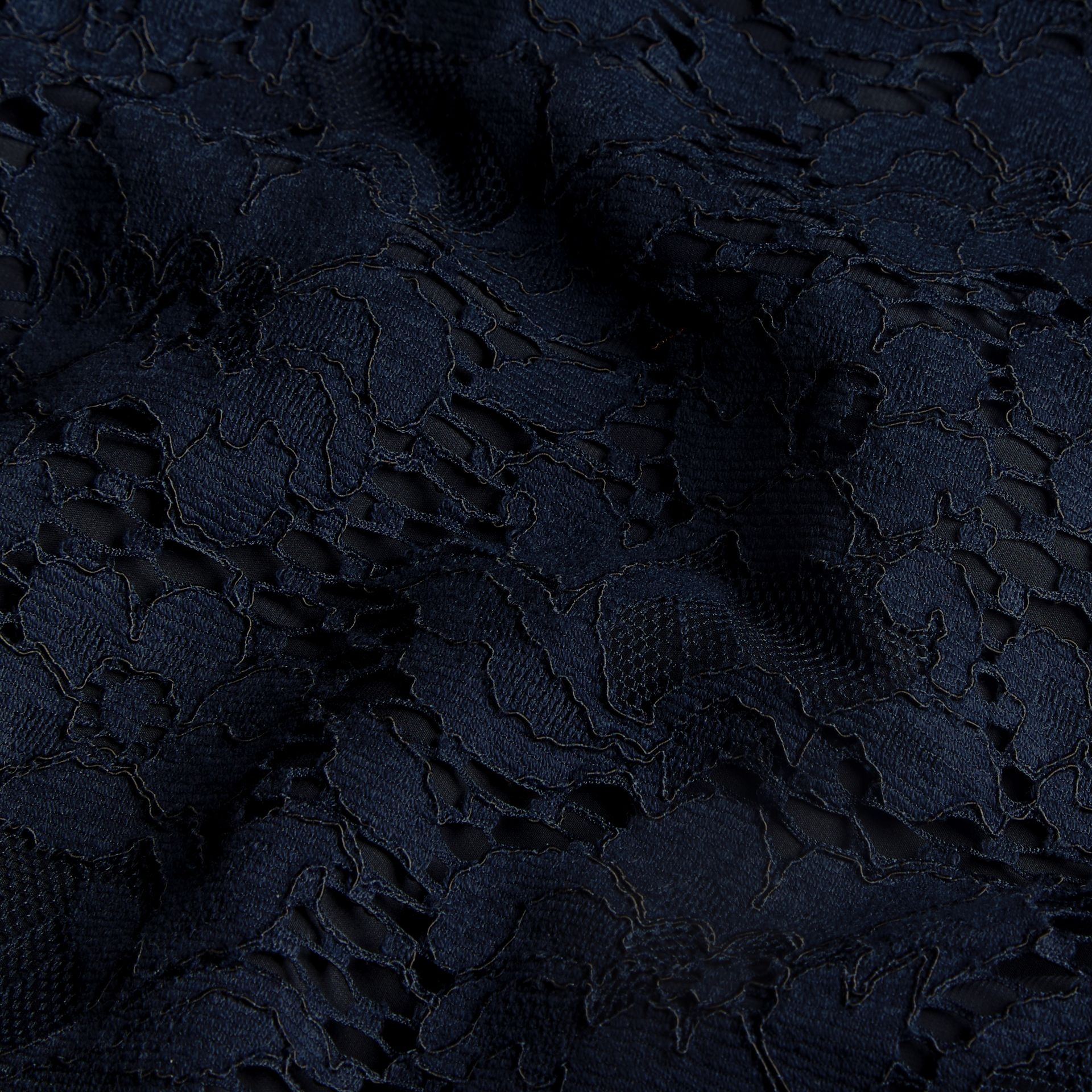 Navy Puff-sleeved Floral Lace Shift Dress - gallery image 2