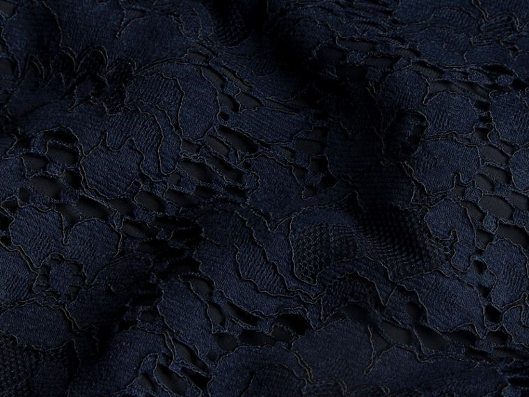 Navy Puff-sleeved Floral Lace Shift Dress - cell image 1