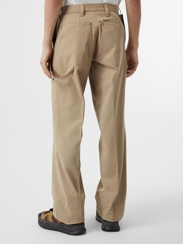 Strap Detail Cotton Trousers in Desert | Burberry Australia - cell image 2