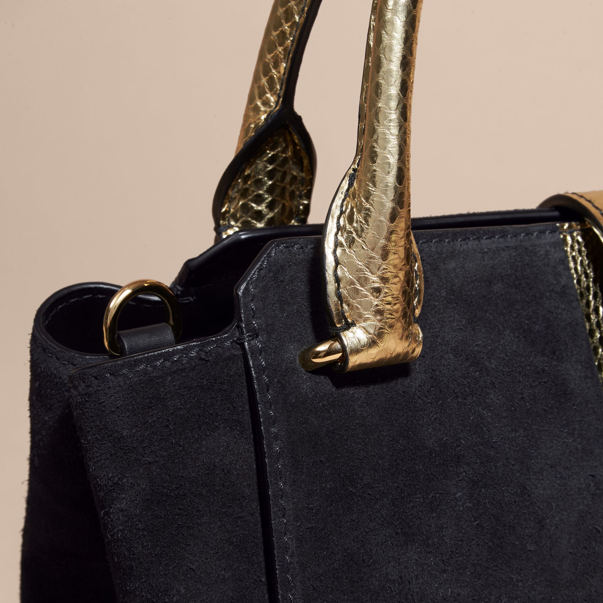 Black/gold The Medium Buckle Tote in Suede and Snakeskin - gallery image 6