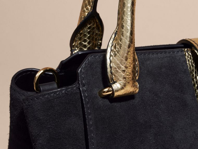 Black/gold The Medium Buckle Tote in Suede and Snakeskin - cell image 4