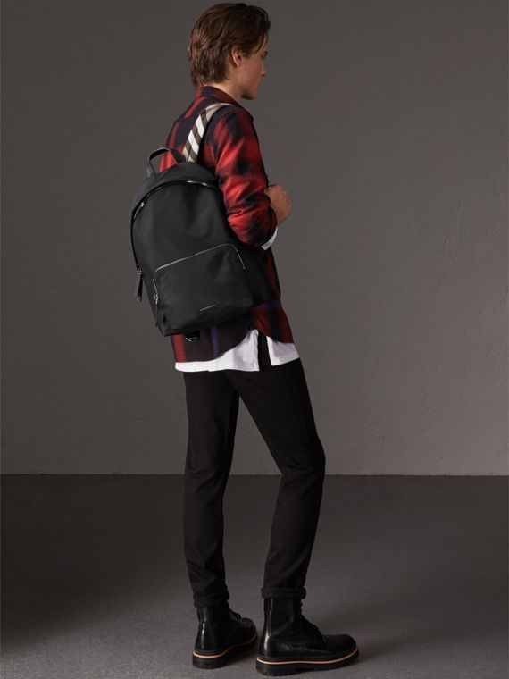 Leather Trim Nylon Backpack with Check Detail in Black - Men | Burberry - cell image 2