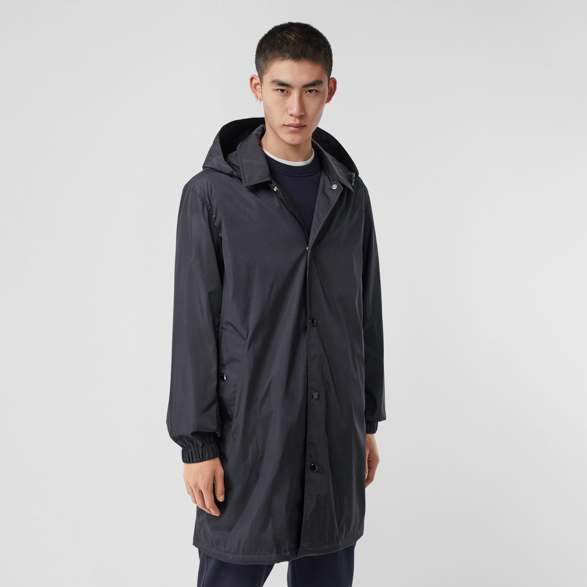 Detachable Hood Nylon Car Coat in Navy - Men | Burberry - gallery image 6