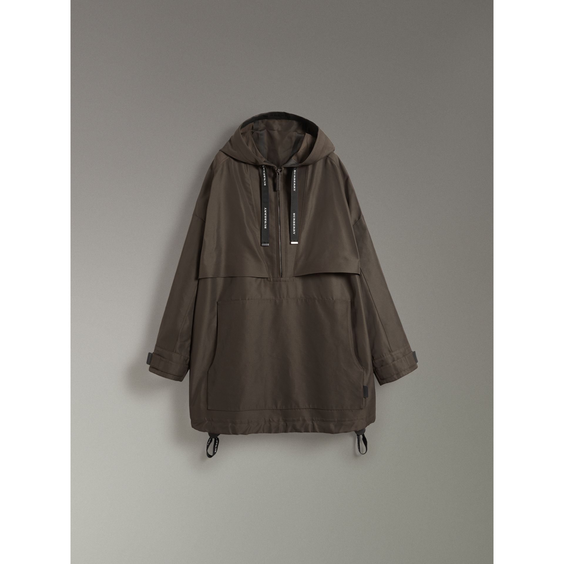 Bonded Canvas Oversized Anorak in Dark Forest Green | Burberry Australia - gallery image 3