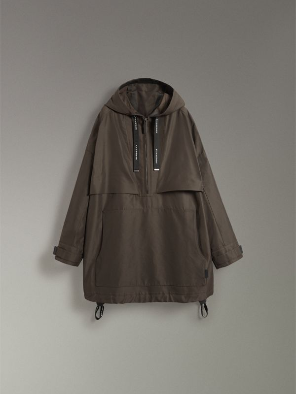 Bonded Canvas Oversized Anorak in Dark Forest Green | Burberry - cell image 3