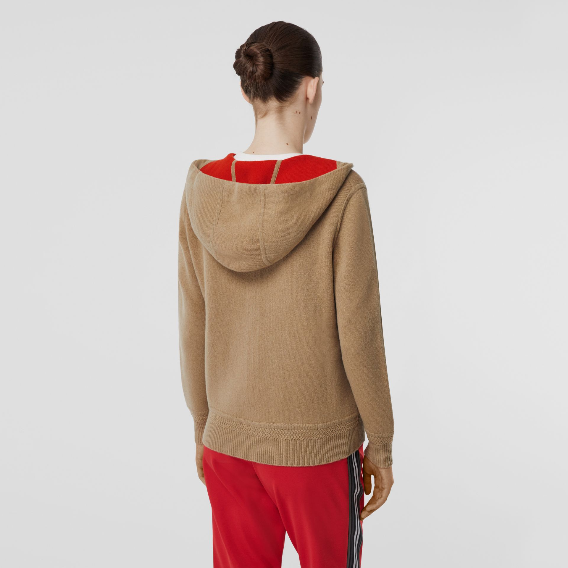 Embroidered Logo Cashmere Hooded Top in Archive Beige - Women | Burberry - gallery image 1