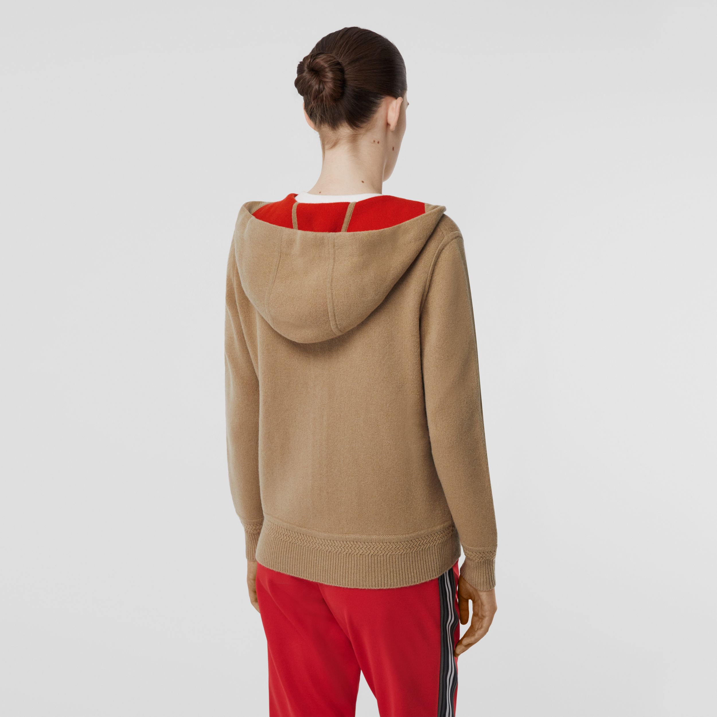 Embroidered Logo Cashmere Hooded Top in Archive Beige - Women | Burberry Australia - 3
