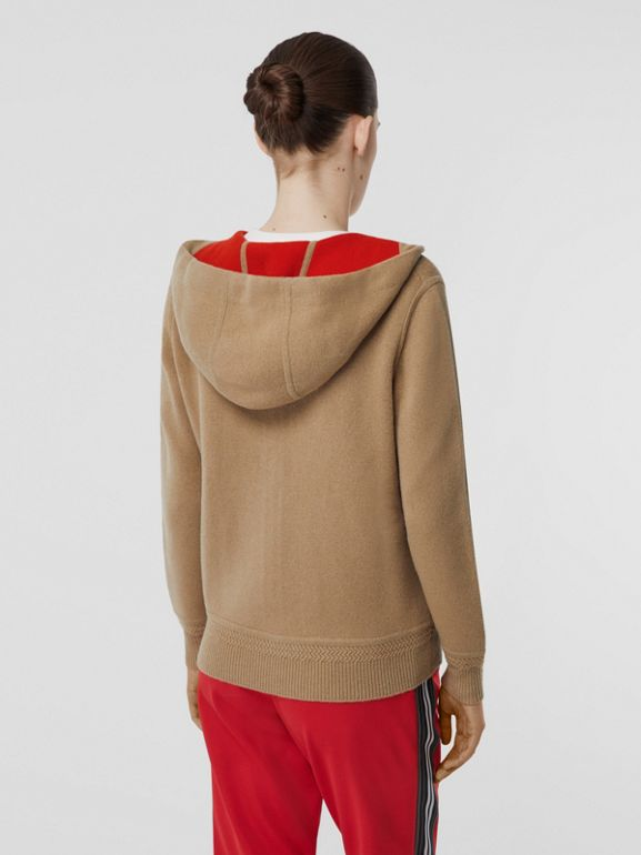 Embroidered Logo Cashmere Hooded Top in Archive Beige - Women | Burberry - cell image 1