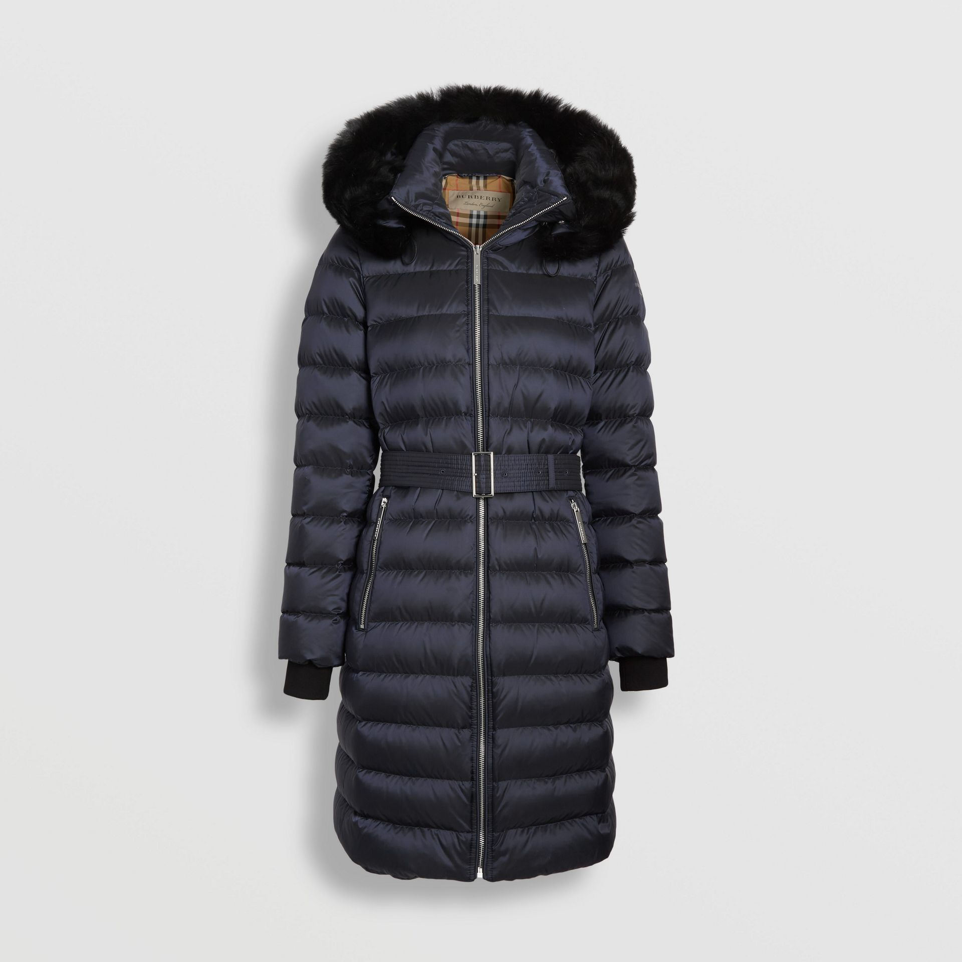 Detachable Shearling Trim Down-filled Puffer Coat in Navy - Women | Burberry - gallery image 3
