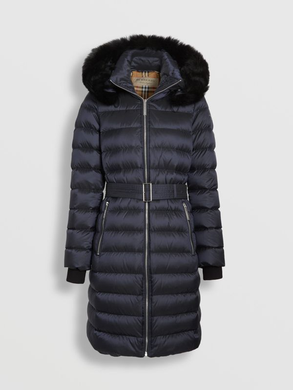Detachable Shearling Trim Down-filled Puffer Coat in Navy - Women | Burberry - cell image 3