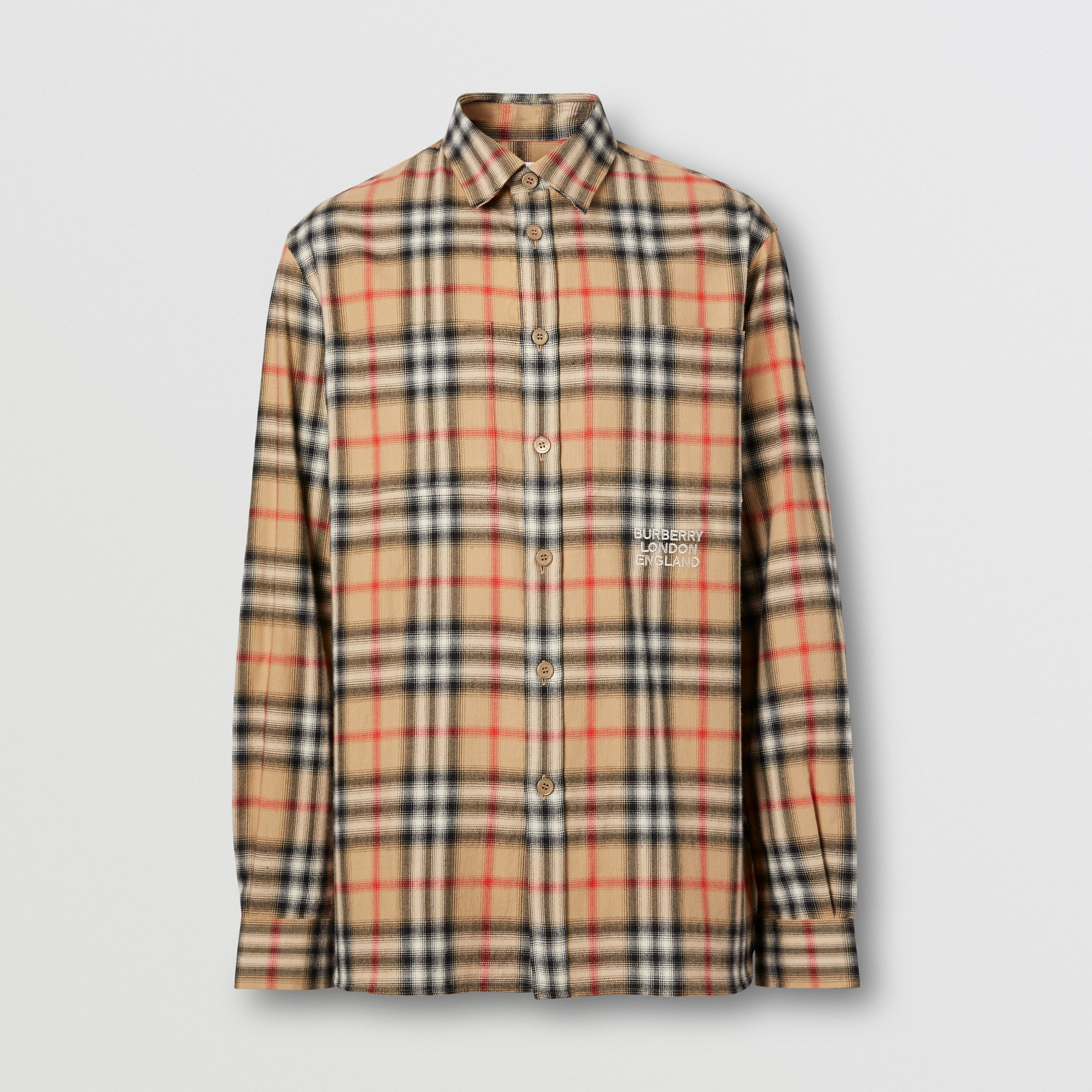 Ombré Check Cotton Flannel Oversized Shirt in Archive Beige - Men | Burberry United Kingdom - 4