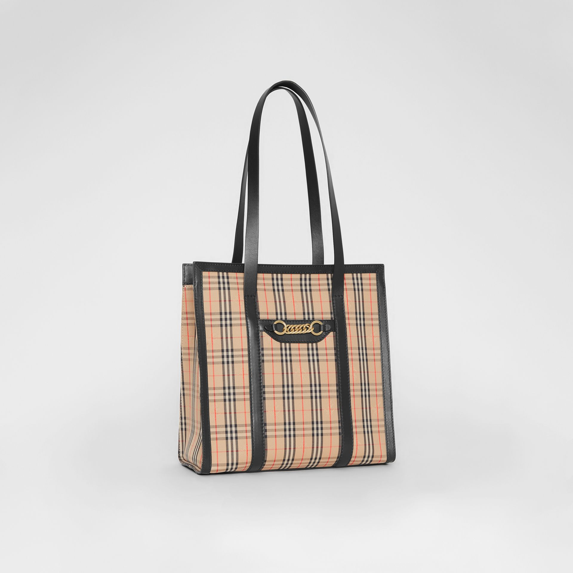 The Small 1983 Check Link Tote Bag in Black - Women | Burberry United Kingdom - gallery image 6