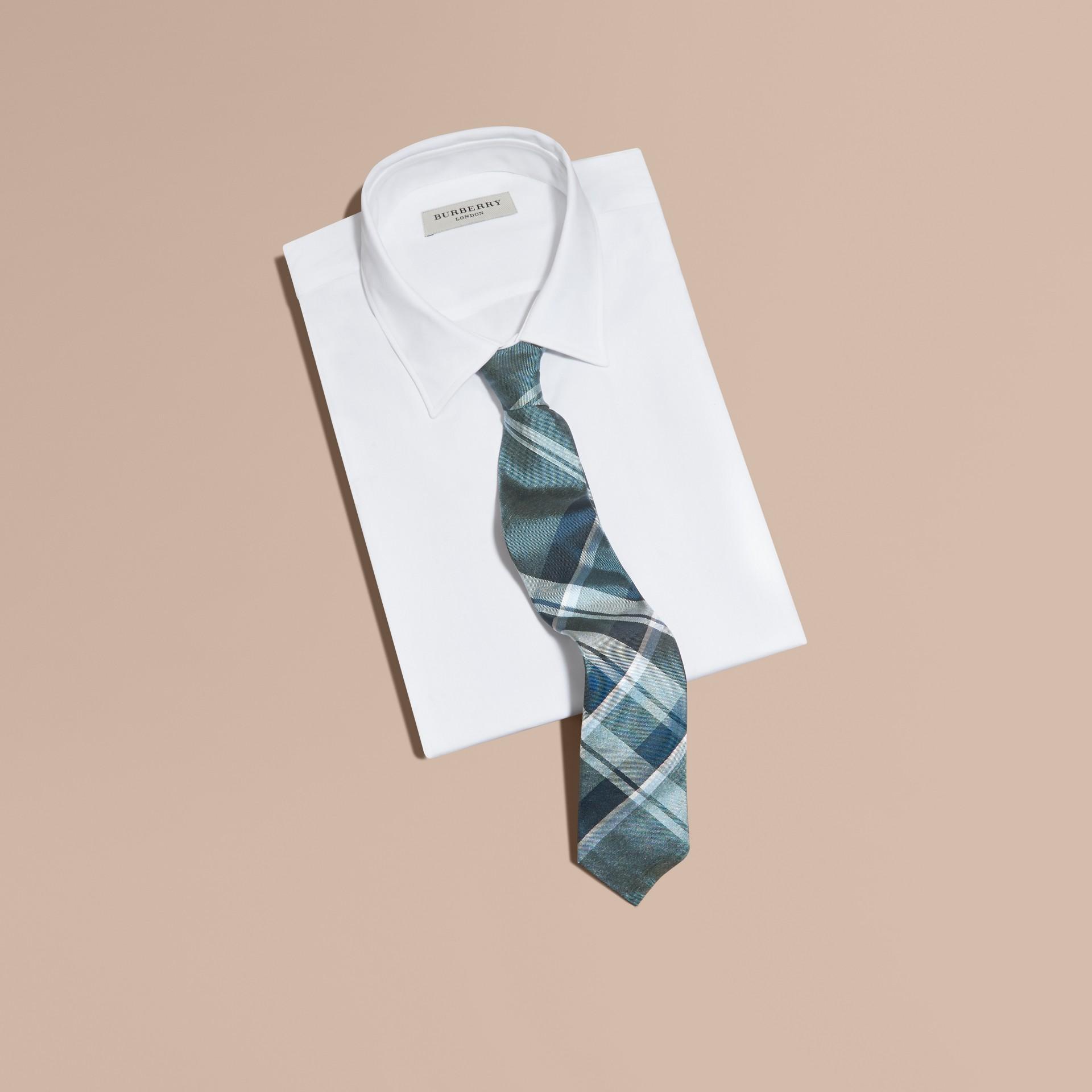 Pale celadon Modern Cut Check Jacquard Silk Tie Pale Celadon - gallery image 3
