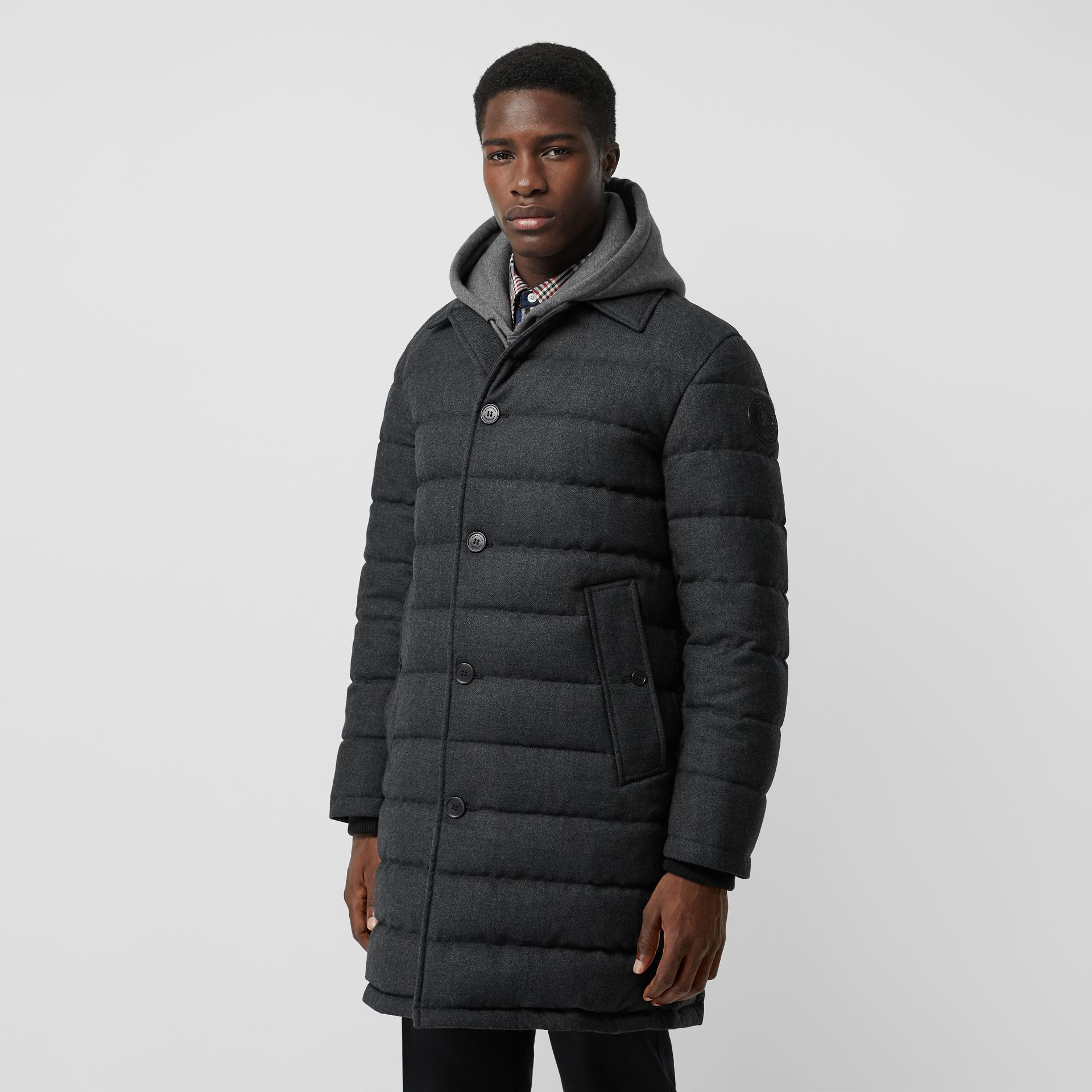 Wool Flannel Down-filled Car Coat in Dark Grey Melange - Men | Burberry United States - gallery image 0