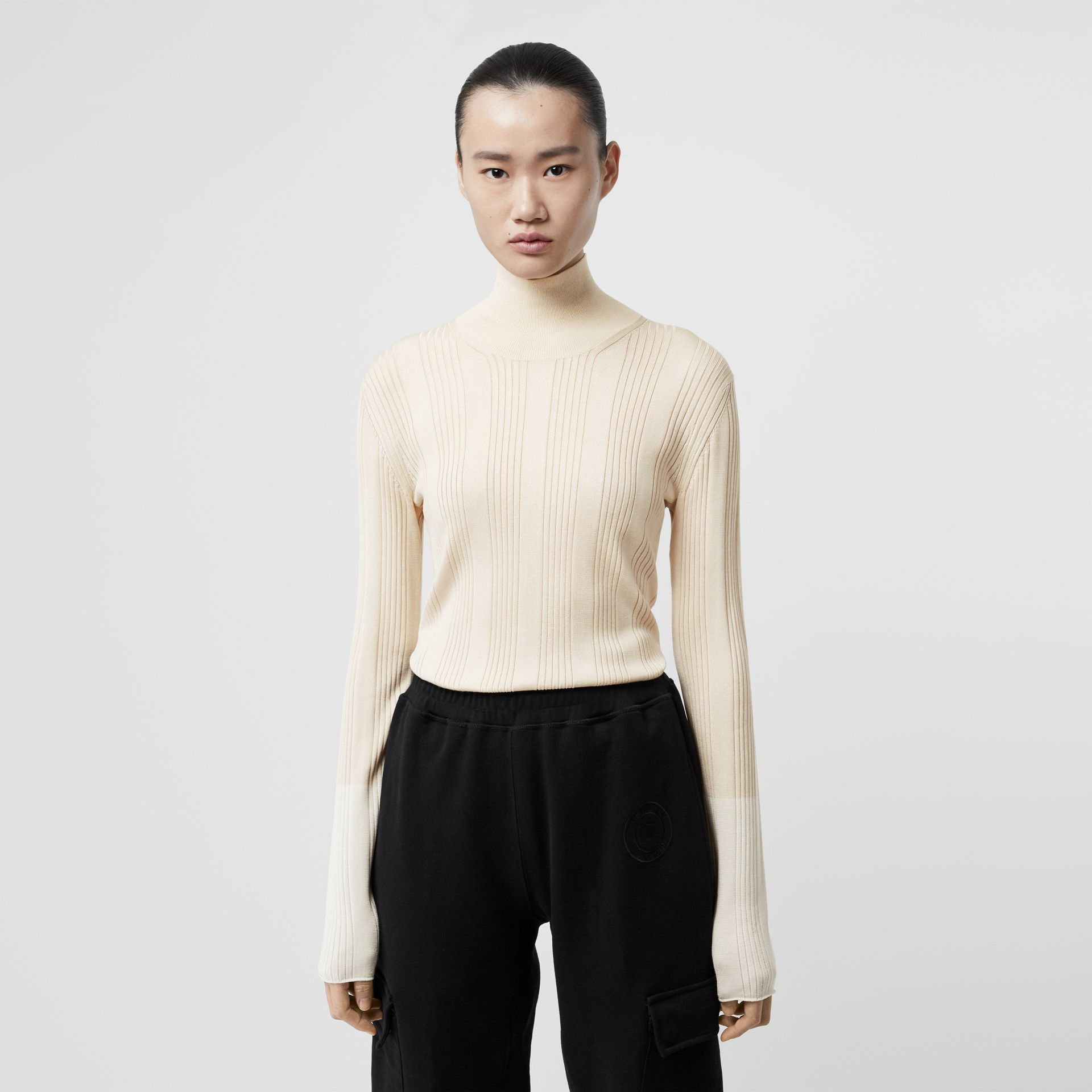 Rib Knit Silk Turtleneck Sweater in Natural White - Women | Burberry - gallery image 0