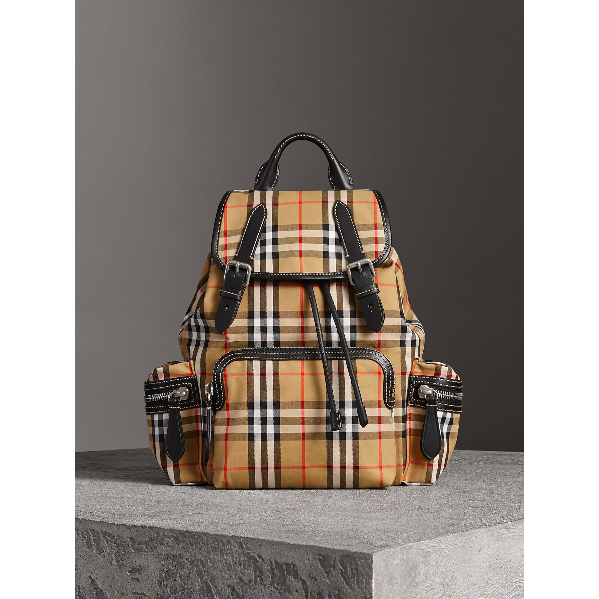 The Medium Rucksack in Vintage Check and Leather in Antique Yellow - Women | Burberry - gallery image 7