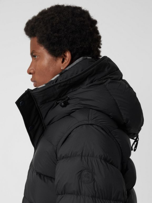 Detachable-sleeve Down-filled Hooded Puffer Jacket in Black - Men | Burberry Canada - cell image 1