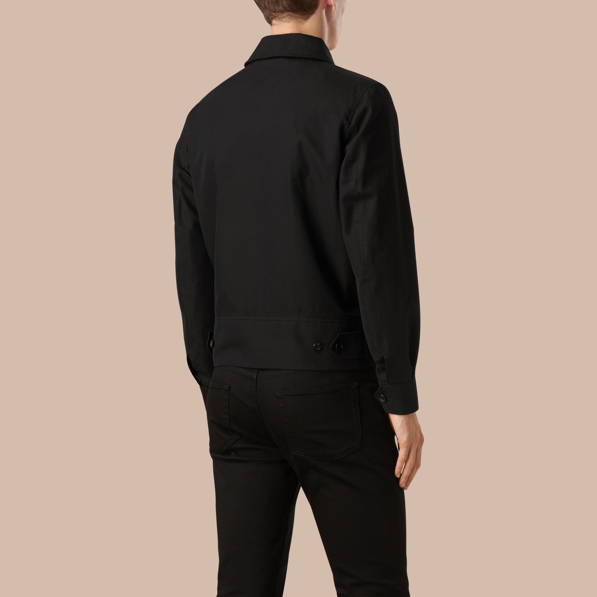 Black Cotton Gabardine Jacket - gallery image 2