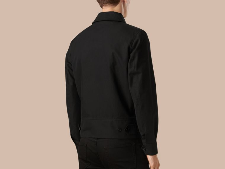 Black Cotton Gabardine Jacket - cell image 1