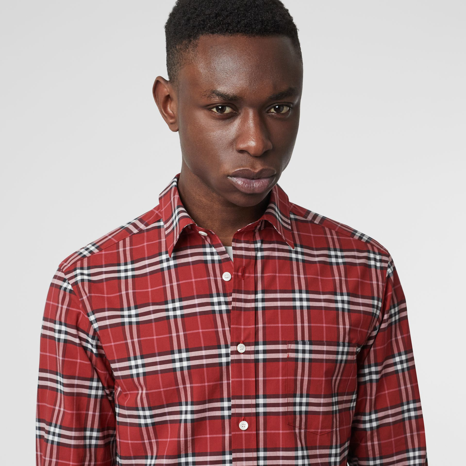 Check Stretch Cotton Shirt in Bright Red - Men | Burberry Australia - gallery image 1