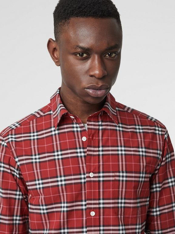 Check Stretch Cotton Shirt in Bright Red - Men | Burberry Hong Kong - cell image 1