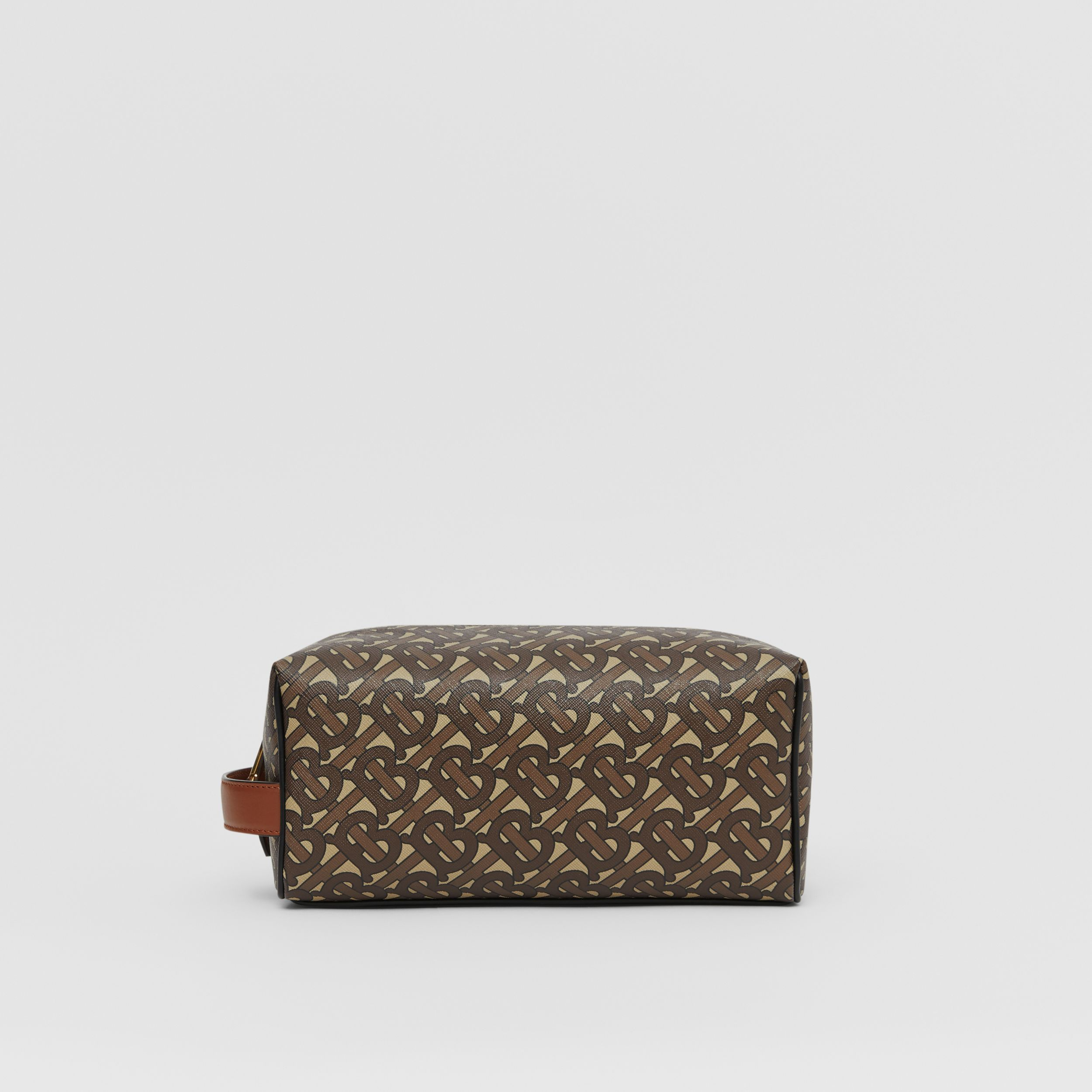 Monogram Print E-canvas Travel Pouch in Bridle Brown - Men | Burberry United Kingdom - 1