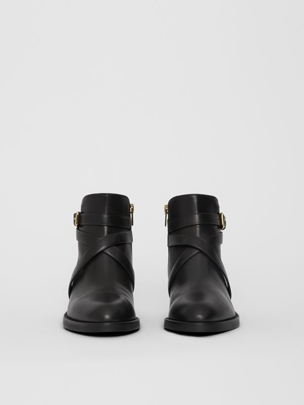 Strap Detail Quilted Leather Ankle Boots in Black - Women | Burberry United Kingdom - cell image 3