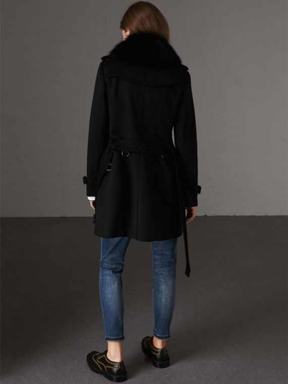 Wool Cashmere Trench Coat with Fur Collar in Black - Women | Burberry Singapore - cell image 2