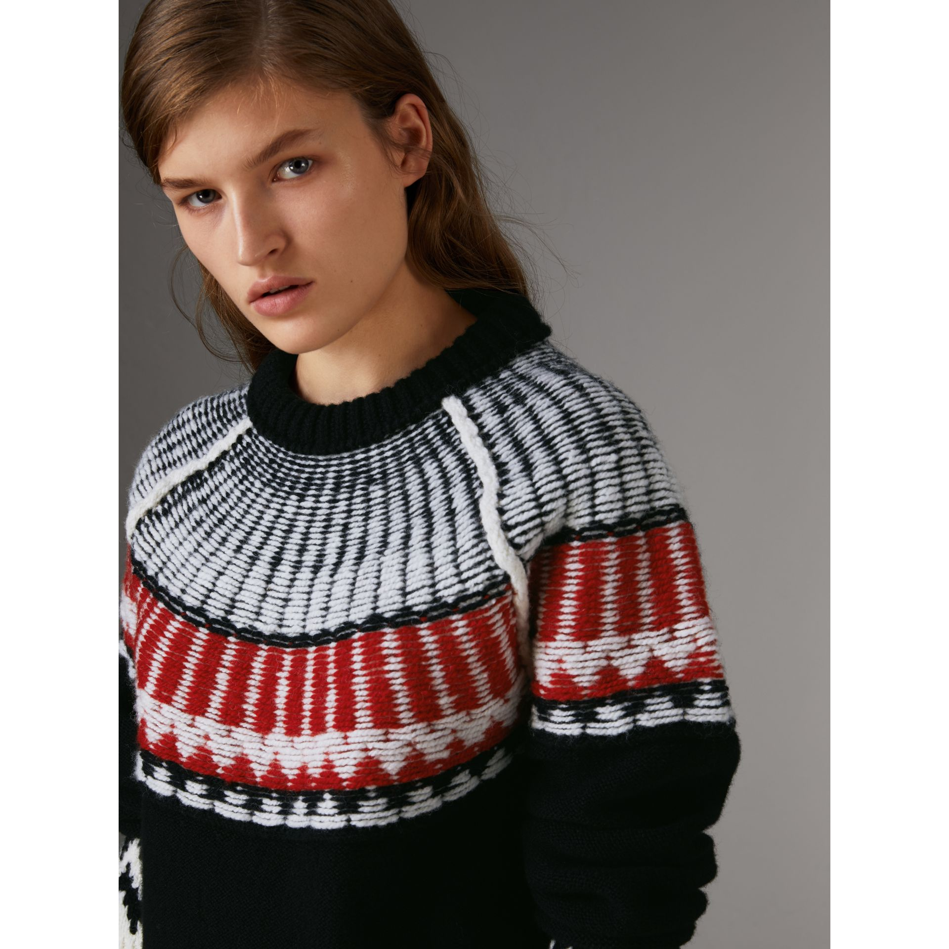 Fair Isle Wool Cashmere Sweater in Black/ Military Red - Women | Burberry - gallery image 1