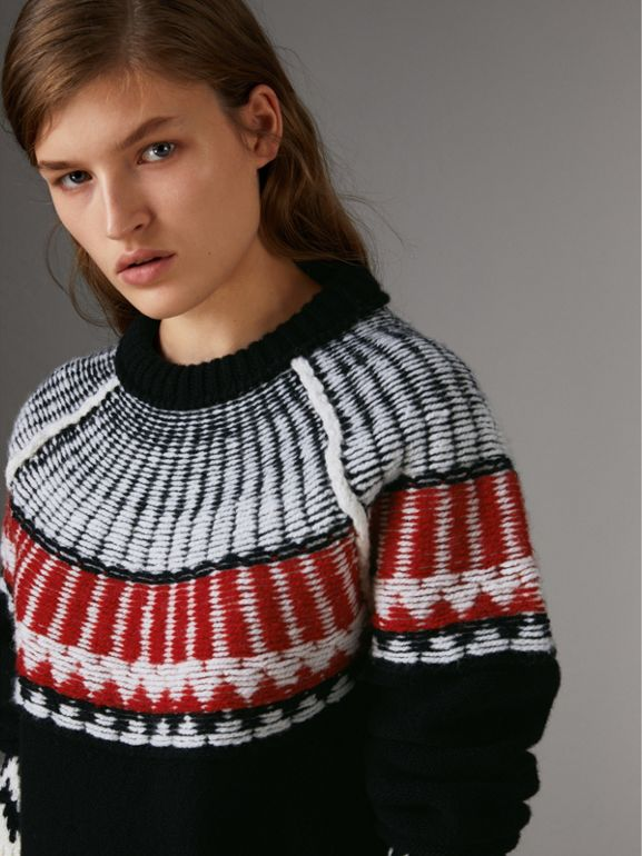 Fair Isle Wool Cashmere Sweater in Black/ Military Red - Women | Burberry - cell image 1