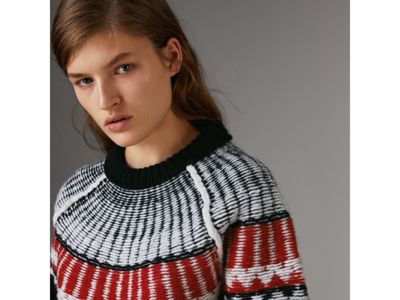 Fair Isle Wool Cashmere Sweater in Black/ Military Red - Women ...